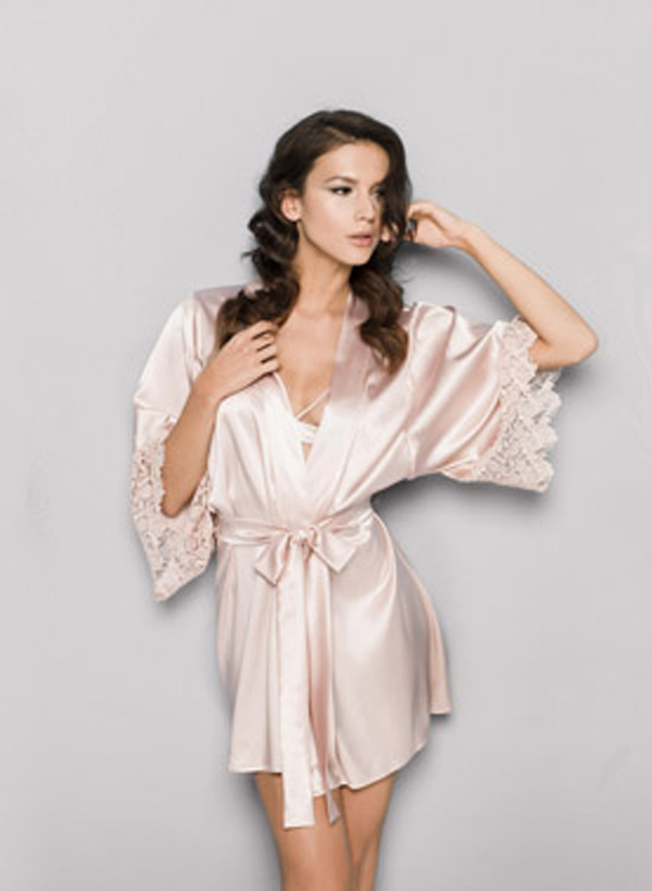 Envelope your curves and create the perfect sexy silhouette in this indulgent guipure silk and lace robe.