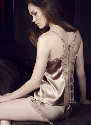 CHAMPAGNE CAMISOLE AND FRENCH KNICKER BACK