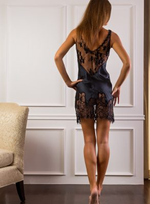 Elegant and classic black silk and lace ooze Hollywood glamour and sultry sensual nights in this simple sexy Marjolaine slip.