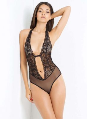 A whiplash-sexy non-wired L'Agent by Agent Provocateur Brigit body, thanks to its deep plunging Spanish lace shape and cheeky ruched dérriere.