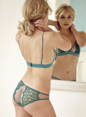 Beautiful hand-cut guipure lace embroidered panels in an opulent teal silk combine with delicate Italian tulle to give a flattering Capri brief that's intricately sexy and a little bit cheeky.
