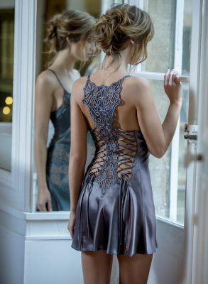 Extremely sexy double-corseted silk nightdress by French designer Marjolaine