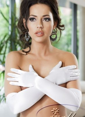 Classically elegant, above elbow length Astrid gloves are made in a stretchy satin material.