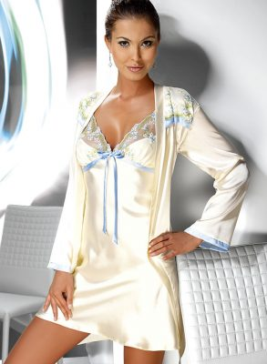 This erotic Grace cream satin nightdress has a loosely fitted top and adjustable straps.