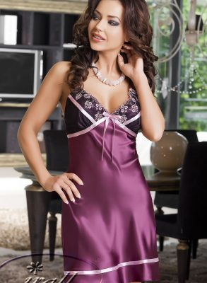 This seductive Kimberly Nightdress, designed by Irall, is a stunning above knee length nightdress made in luxury plum Italian satin.