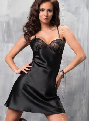 Sharon is a stunning, sophisticated black nightdress made from high quality, soft, silky Italian satin.