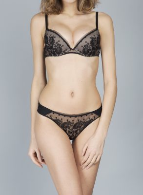 This elegant black floral embroidery push-up bra is made in France and boasts exceptional quality.