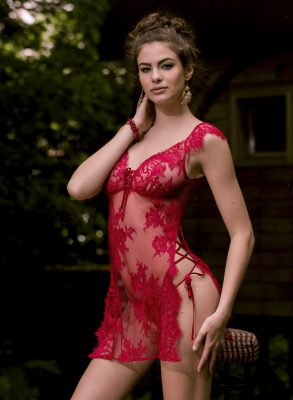 A comfortable and sexy red Leavers Lace thong produced in France