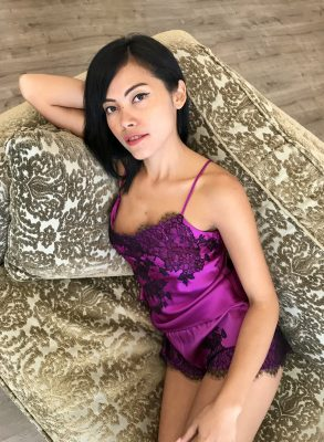 Show off your luxurious boudoir style in this Marjolaine silk camisole set. The sensual purple orchid silk with overlaid black Leavers lace creates an opulent look that will awaken your senses.