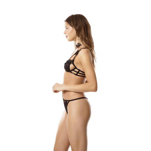 กางเกงชั้นในผ้าตาข่ายพร้อมสายเชื่อมคอประดับตกแต่งด้วยลูกไม้สุดประณีต