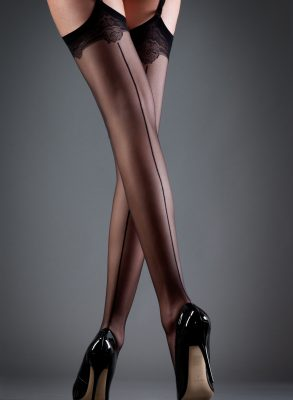 Back seam suspender stockings, that are effortlessly seductive. Finished with a subtle decorative lace top band and styled for a longer leg look. Only ฿499
