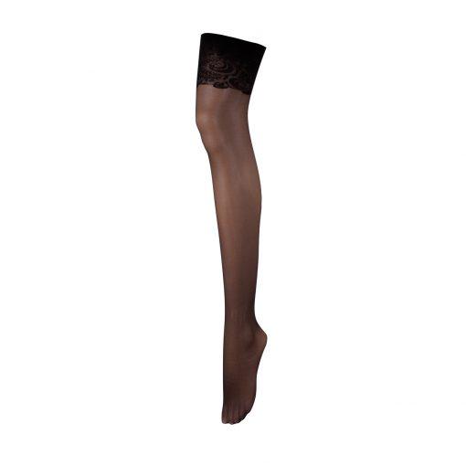 ถุงน่องสต็อกกิ้งแบบใช้สายดึงผ้าลูกไม้สีเข้มพร้อมช่วงขาแบบโปร่ง ขอบรัดด้านต้นขาด้วยผ้าลูกไม้เนื้อนุ่มโอบรับผิวของคุณอย่างนุ่มนวล