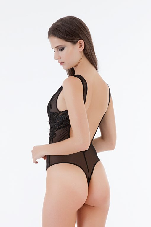Bluebella Etienne body is a sheer body with beautiful guipure lace placement trim. Deep plunge back with thong back styling.